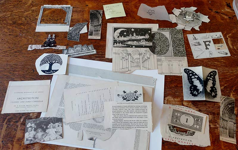 Fragments laid out on Ron Padgett's table