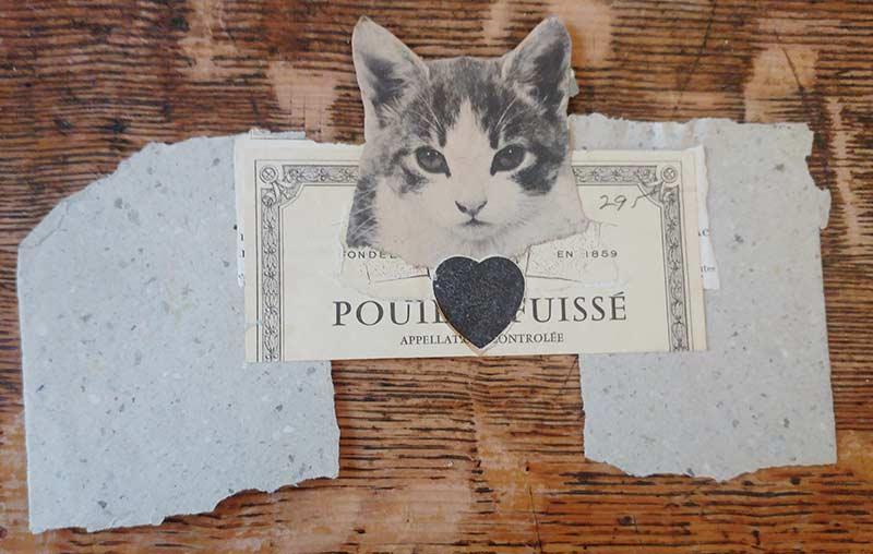 Joe Brainard, semi-finished collage (Pouilly-Fuissé and cat)